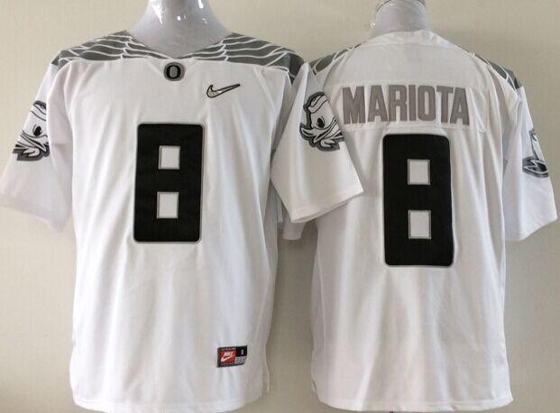 Youth NCAA Oregon Ducks 8 Mariota white Jerseys