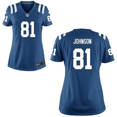 Womens Indianapolis Colts 81 Andre Johnson Blue 2015 Nike Game Jerseys