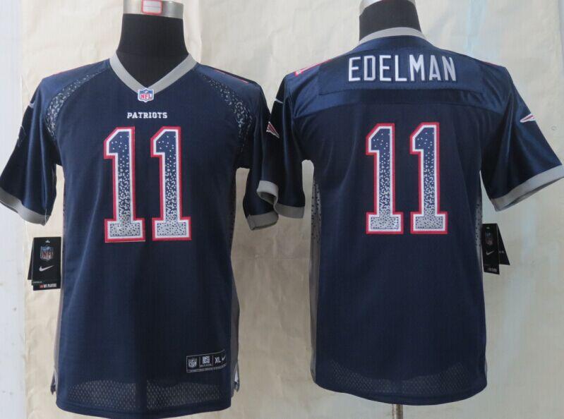 Youth New England Patriots 11 Edelman Drift Fashion Blue Elite 2014 New Nike Jerseys