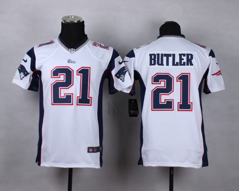 Youth New England Patriots 21 butler white 2015 Nike Game Jerseys