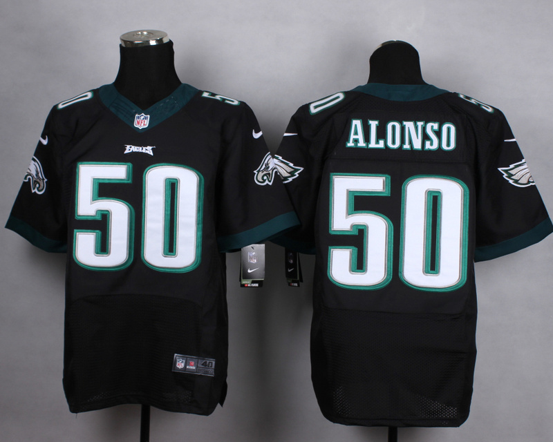 Philadelphia Eagles 50 alonso black Men Nike Elite Jerseys