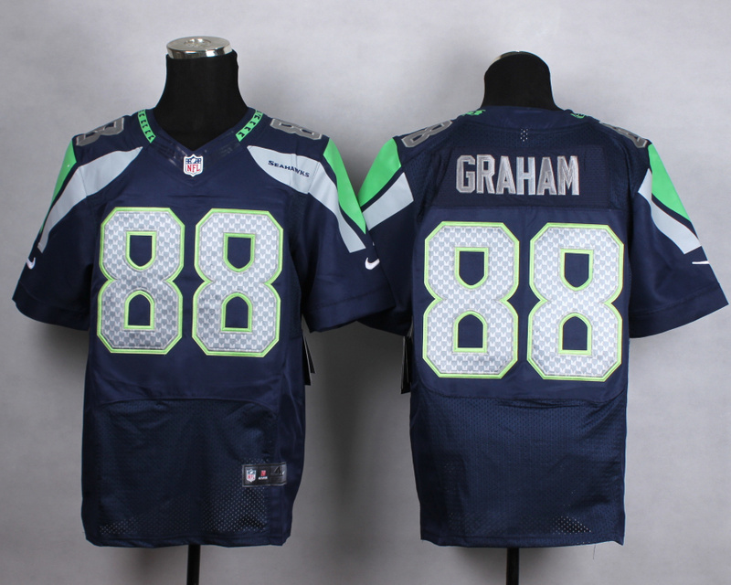 Seattle Seahawks 88 graham blue Men Nike Elite Jerseys