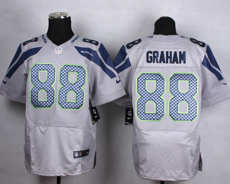 Seattle Seahawks 88 graham grey Men Nike Elite Jerseys