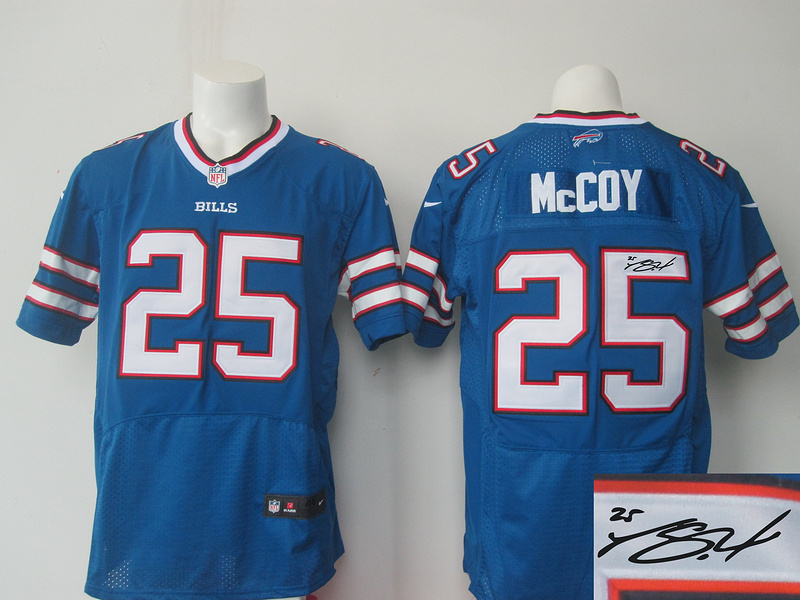Buffalo Bills 25 mccoy blue Nike Elite Autographed 2015 Jersey