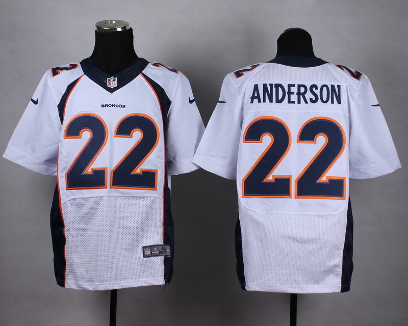 Denver Broncos 22 Anderson White Men Nike Elite Jerseys