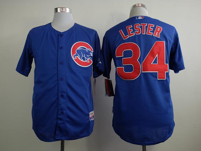 MLB Chicago Cubs 34 Jon Lester Blue 2015 Jerseys