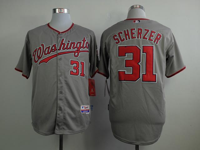 MLB Washington Nationals 31 Scherzer grey 2015 Jerseys