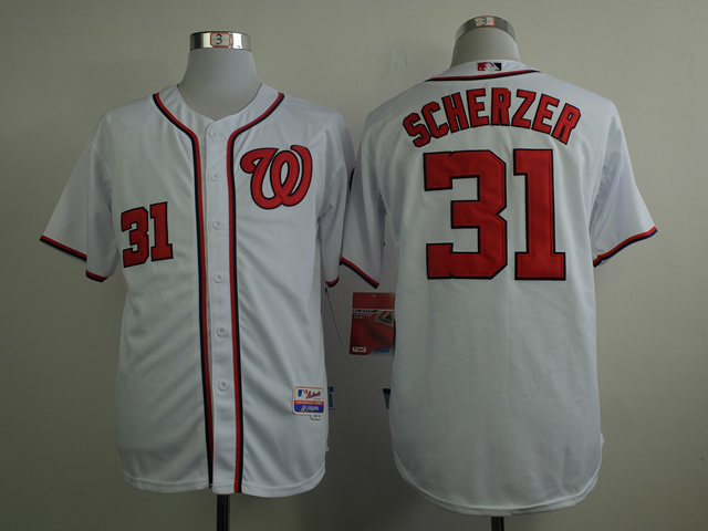 MLB Washington Nationals 31 Scherzer white 2015 Jerseys