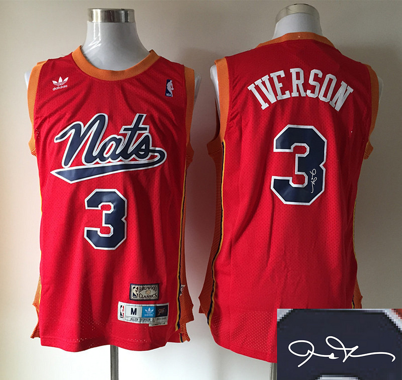 NBA Philadelphia 76ers 3 iverson red Nike Elite Autographed 2015 Jersey