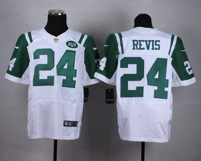 New York Jets 24 Revis White Men Nike Elite Jerseys