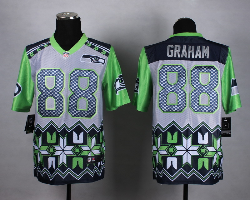 Seattle Seahawks 88 graham grey 2015 New Style Noble Fashion Elite Jerseys