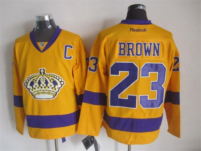 NHL Los Angeles Kings 23 brown yellow Jerseys