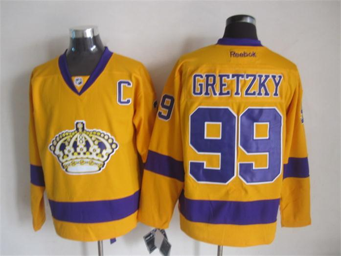 NHL Los Angeles Kings 99 gretzky yellow Jerseys