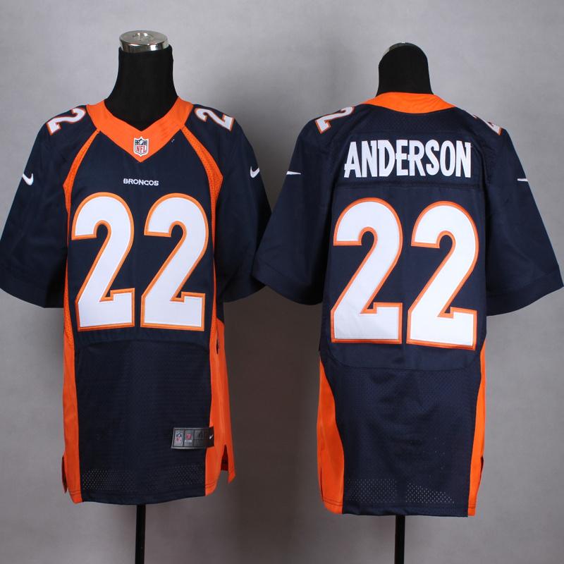 Denver Broncos 22 Anderson Blue Men Nike Elite Jerseys