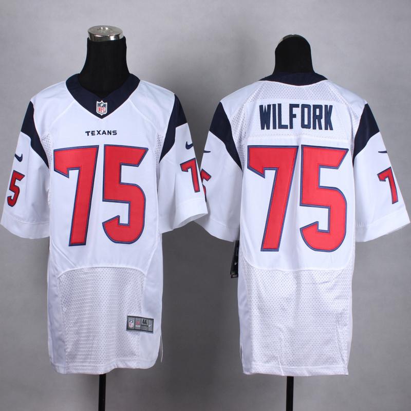 NFL Customize Houston Texans 75 Wilfork White Men Nike Elite Jerseys