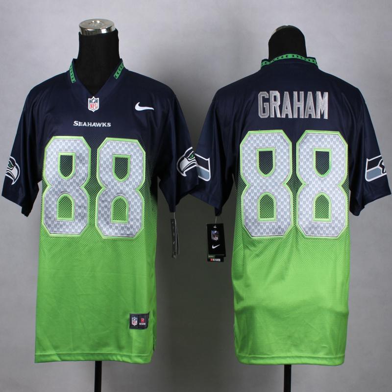 Seattle Seahawks 88 graham Blue Green Nike Drift Fashion II Elite 2015 Jerseys