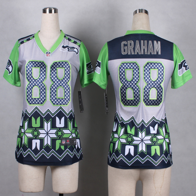Womens Seattle Seahawks 88 Graham Grey 2015 New Style Noble Fashion Elite Jerseys