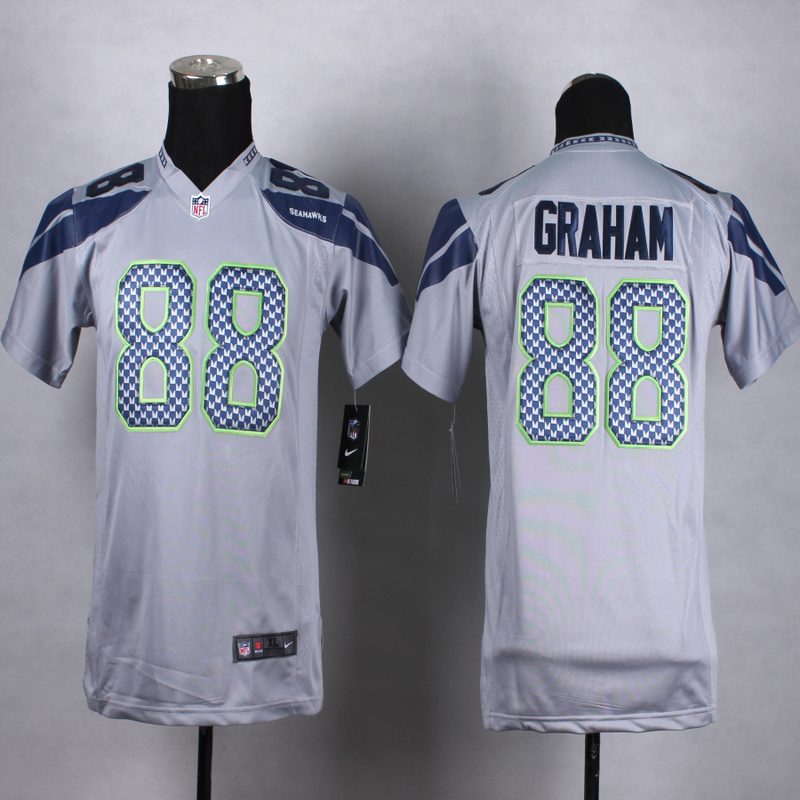 Youth Seattle Seahawks 88 graham Grey 2015 Nike Jerseys