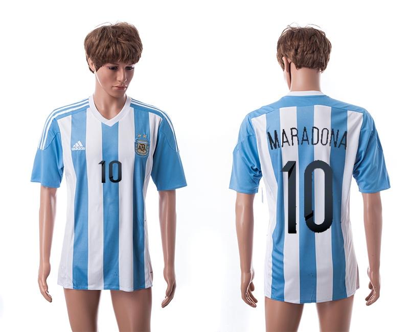 2015 AAA+ Argentina 10 MARADONA Home Soccer Jersey