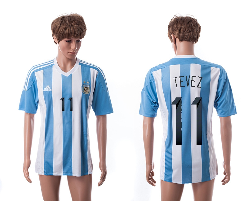 2015 AAA+ Argentina 11 TEVEZ Home Soccer Jersey