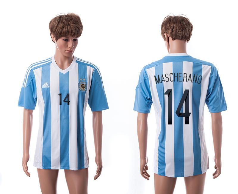 2015 AAA+ Argentina 14 MASCHERANO Home Soccer Jersey