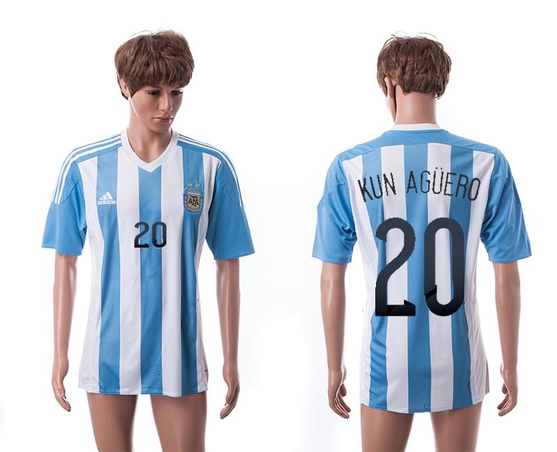 2015 AAA+ Argentina 20 KUN AGUERO Home Soccer Jersey