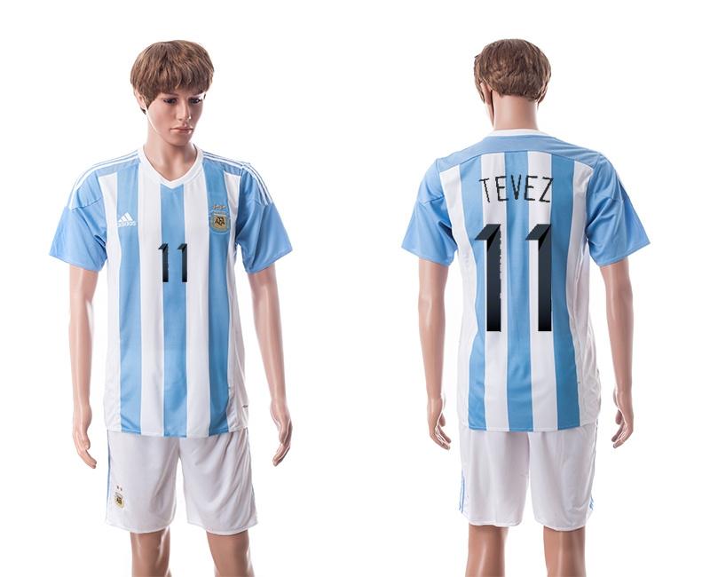 2015 Argentina 11 TEVEZ Home Soccer Jersey
