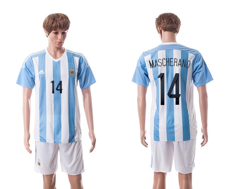 2015 Argentina 14 MASCHERANO Home Soccer Jersey
