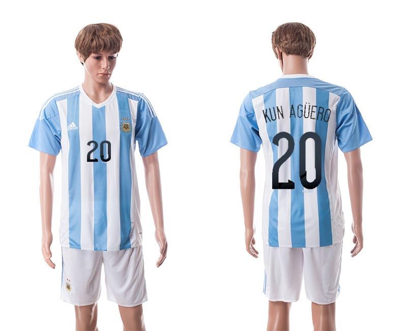 2015 Argentina 20 KUN AGUERO Home Soccer Jersey