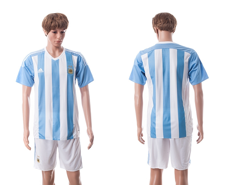 2015 Argentina Blank Home Soccer Jersey