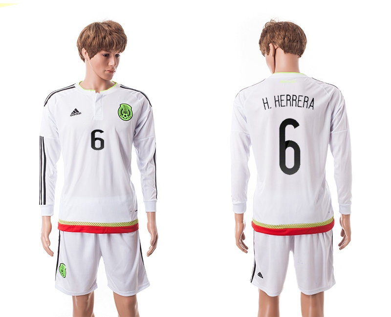 2015 Mexico Copa America 6 H.HERRERA Long Sleeve Away White Soccer Jersey