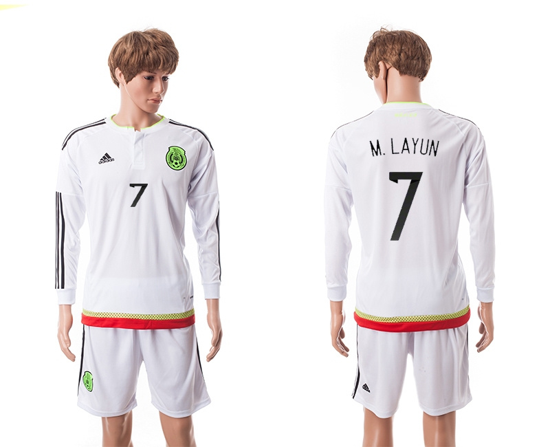 2015 Mexico Copa America 7 M.LAYUN Long Sleeve Away White Soccer Jersey