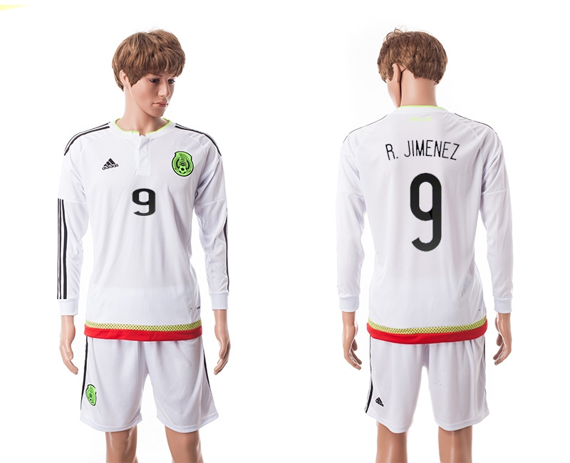 2015 Mexico Copa America 9 R.JIMENEZ Long Sleeve Away White Soccer Jersey
