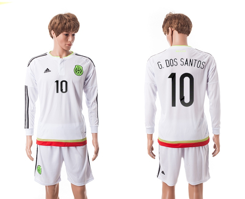 2015 Mexico Copa America 10 G.DOS SANTOS Long Sleeve Away White Soccer Jersey