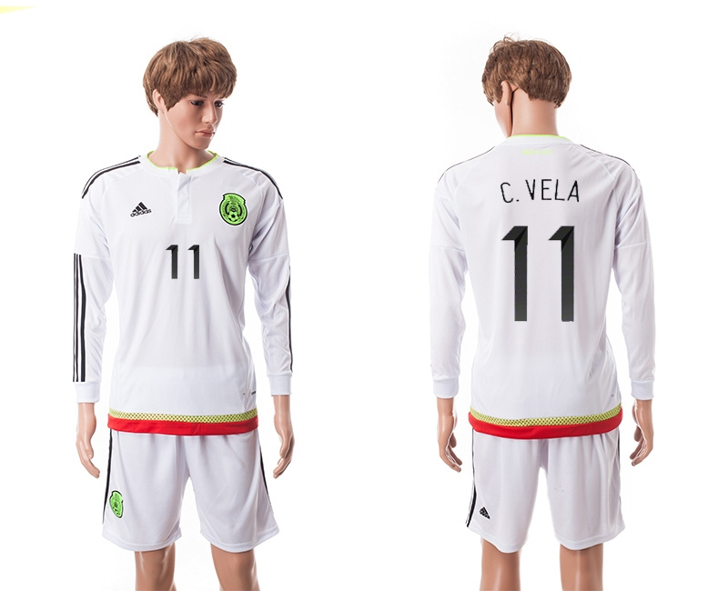 2015 Mexico Copa America 11 C.VELA Long Sleeve Away White Soccer Jersey