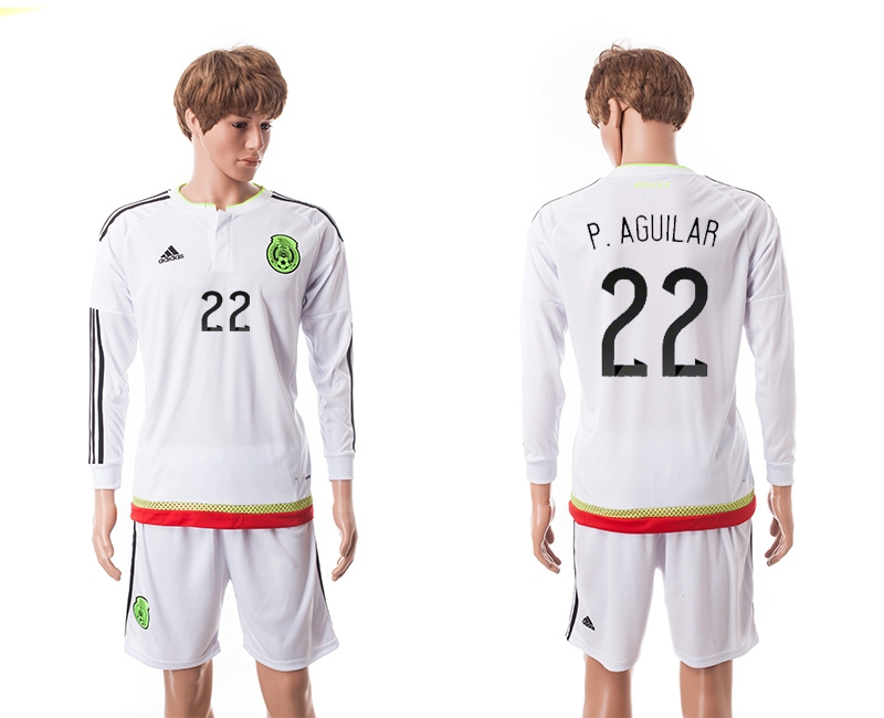 2015 Mexico Copa America 22 P.AGUILAR Long Sleeve Away White Soccer Jersey