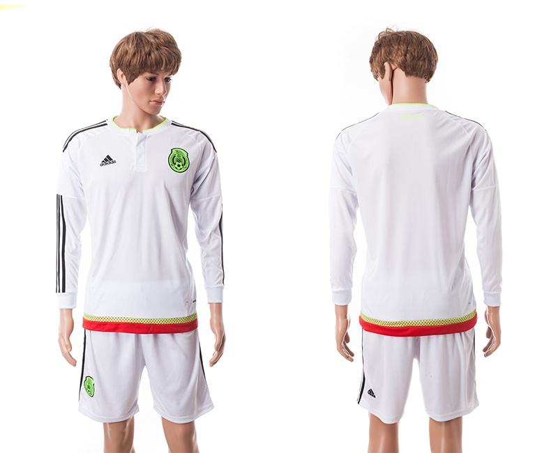 2015 Mexico Copa America Long Sleeve Away White Soccer Jersey