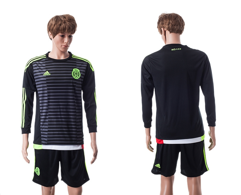 2015 Mexico Copa America Long Sleeve Home Black Soccer Jersey