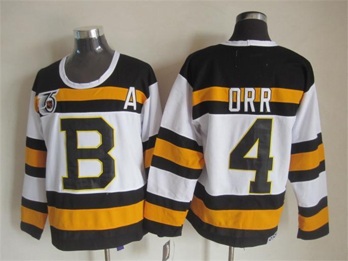 NHL Boston Bruins 4 orr white Jersey