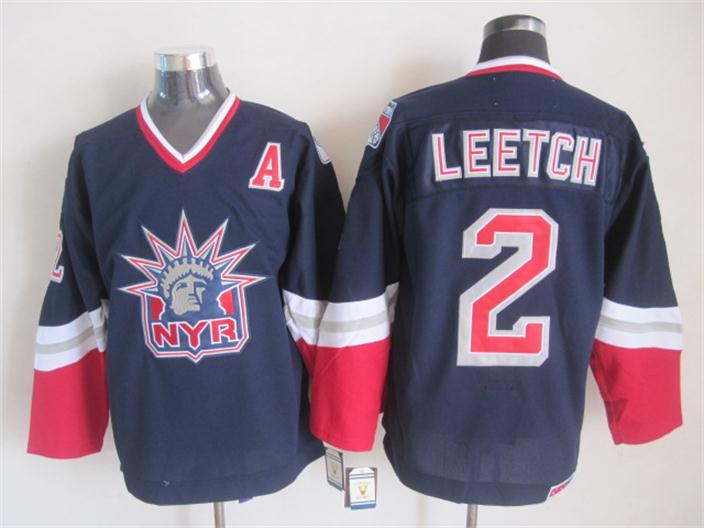 NHL New York Rangers 2 leetch Dark blue Throwback Jersey