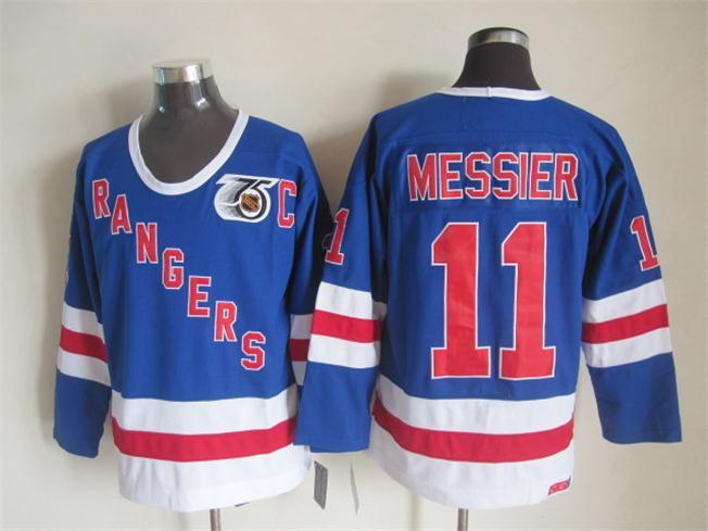 NHL New York Rangers 11 messier blue Throwback Jersey