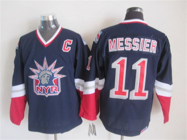 NHL New York Rangers 11 messier Dark blue Throwback Jersey