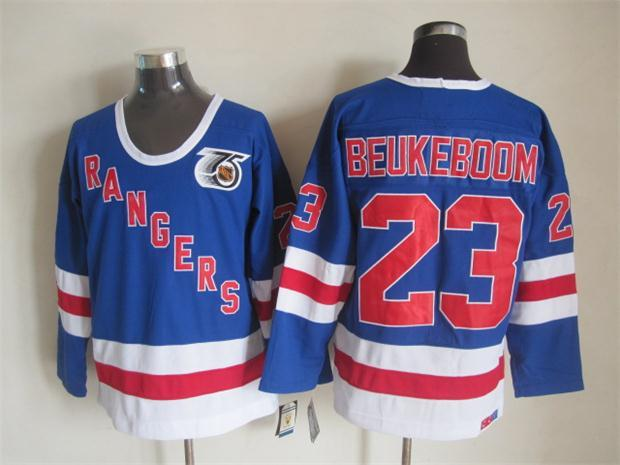 NHL New York Rangers 23 beukeboom blue Throwback Jersey
