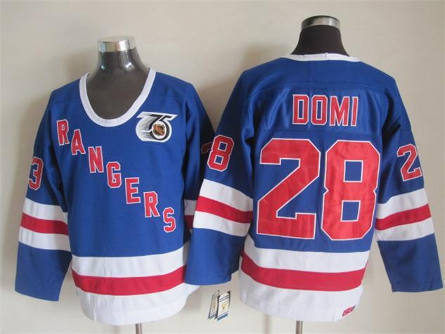 NHL New York Rangers 28 domi blue Throwback Jersey