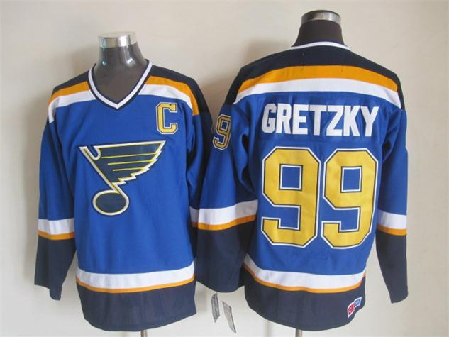 NHL St. Louis Blues 99 gretzky blue Jersey