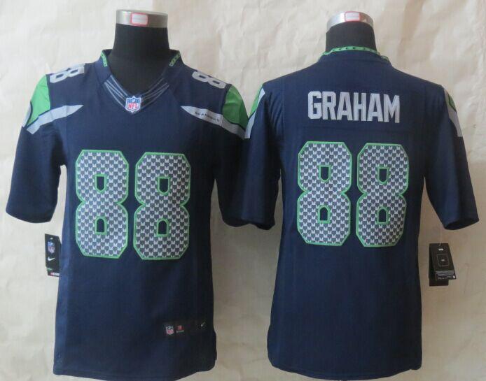 Seattle Seahawks 88 Graham Blue Nike Limited Jerseys