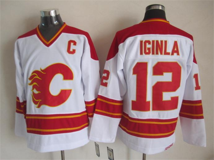 NHL Calgary Flames 12 iginla white Jersey