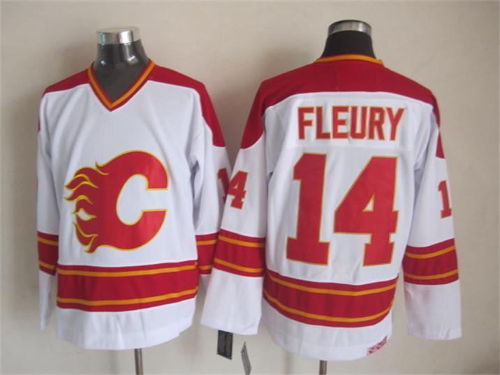NHL Calgary Flames 14 fleury white Jersey