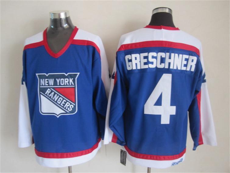NHL New York Rangers 4 greschner blue Jersey