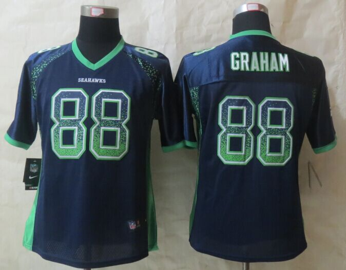 Womens Seattle Seahawks 88 Graham Drift Fashion Blue 2015 New Nike Elite Jerseys